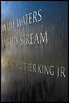Words from bibical quote and Martin Luther King name, Civil Rights Memorial. Montgomery, Alabama, USA
