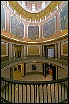 Paintings illustrating the state history below the dome of the capitol. Montgomery, Alabama, USA