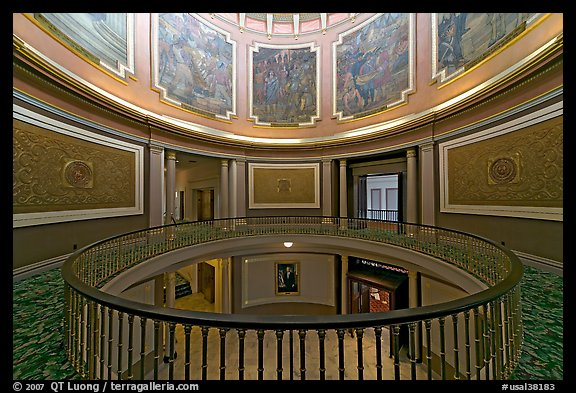 Rotonda below the dome with paintings of historical events. Montgomery, Alabama, USA