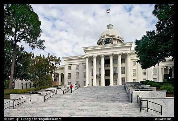 Stairs with man walking up, Alabama State Capitol. Montgomery, Alabama, USA