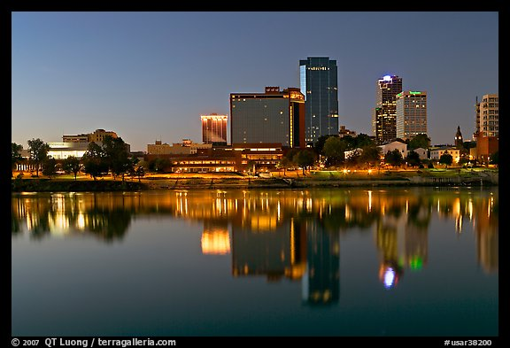 Skyline and Arkansas River at twilight. Little Rock, Arkansas, USA (color)