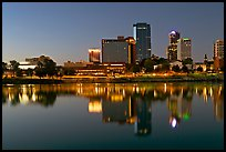 Skyline and Arkansas River at twilight. Little Rock, Arkansas, USA ( color)