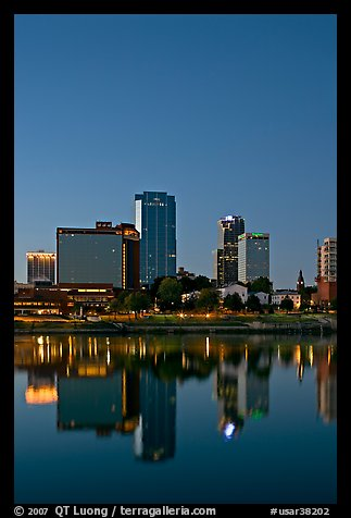 Downtown buidings and Arkansas River at twilight. Little Rock, Arkansas, USA