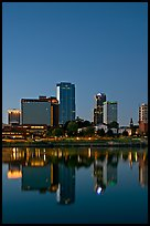 Downtown buidings and Arkansas River at twilight. Little Rock, Arkansas, USA ( color)