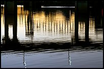 Bridges reflected in the Arkansas River at sunrise. Little Rock, Arkansas, USA ( color)