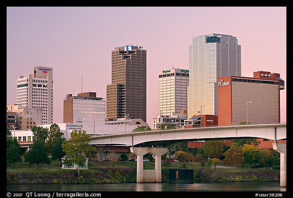 Bridge and Downtown buidings at dawn. Little Rock, Arkansas, USA