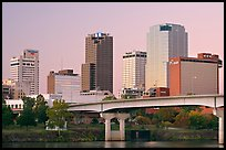 Bridge and Downtown buidings at dawn. Little Rock, Arkansas, USA (color)