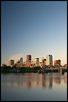 Downtown skyline and Arkansas River at sunrise. Little Rock, Arkansas, USA