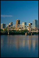 Arkansas River, bridge and skyline, early morning. Little Rock, Arkansas, USA