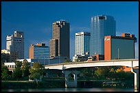 Bridge and Downtown high rises, early morning. Little Rock, Arkansas, USA (color)