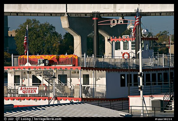 Decks of riverboat Arkansas Queen. Little Rock, Arkansas, USA (color)