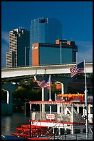 Riverboat and skyline. Little Rock, Arkansas, USA