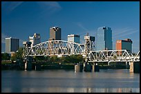 Downtown skyline and Arkansas River, early morning. Little Rock, Arkansas, USA