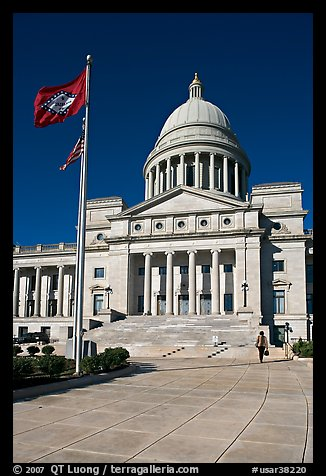 Arkansas Capitol with woman carrying briefcase. Little Rock, Arkansas, USA (color)