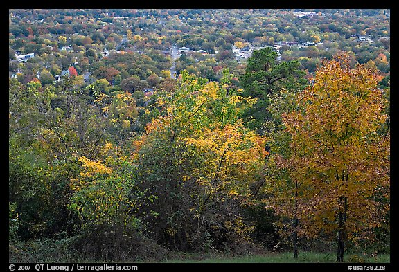 Trees in fall colors and city. Hot Springs, Arkansas, USA (color)