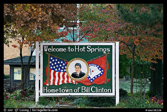 Welcome sign featuring Bill Clinton. Hot Springs, Arkansas, USA (color)