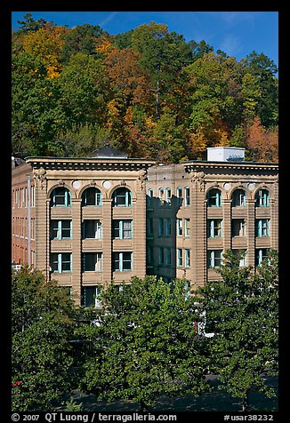 Historic buildings below hillside. Hot Springs, Arkansas, USA (color)