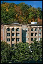 Historic buildings below hillside. Hot Springs, Arkansas, USA