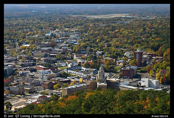 City in fall from above. Hot Springs, Arkansas, USA (color)
