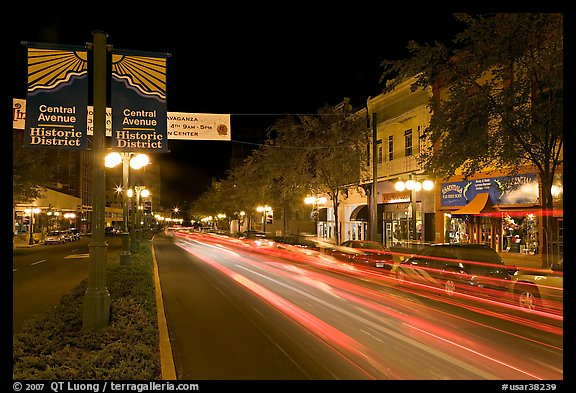 Historic district avenue with car lights. Hot Springs, Arkansas, USA (color)