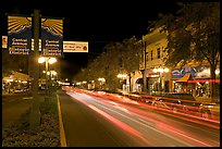 Historic district avenue with car lights. Hot Springs, Arkansas, USA