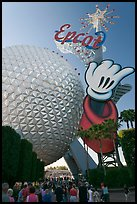 Spaceship earth and Epcot sign. Orlando, Florida, USA (color)