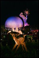 Bambi and Epcot sphere by night, Walt Disney World. Orlando, Florida, USA (color)