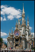The Cinderella Castle, centerpiece of Magic Kingdom Theme Park. Orlando, Florida, USA (color)
