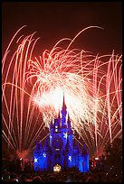 Fireworks over fairy-tale fortress. Orlando, Florida, USA