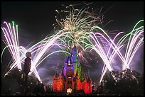 Night Fireworks, Cinderella Castle, Walt Disney World. Orlando, Florida, USA