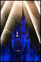 Fairy-tale castle at night with fireworks. Orlando, Florida, USA (color)