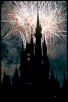 Cinderella Castle at night with fireworks in sky. Orlando, Florida, USA (color)