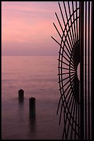 Grid at sunrise and ocean. Key West, Florida, USA