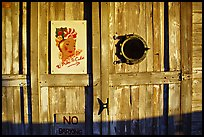 Wooden door with cuba poster. Key West, Florida, USA
