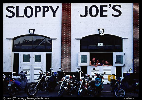 Motorbikes in front of Sloppy Joe. Key West, Florida, USA (color)