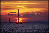 Sailboats viewed against sun disk at sunset. Key West, Florida, USA