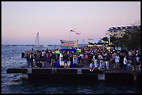 Crowds watching sunset at Mallory Square. Key West, Florida, USA ( color)