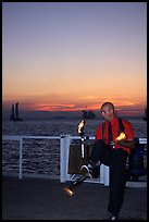 Juggler on Mallory Square, sunset. Key West, Florida, USA ( color)