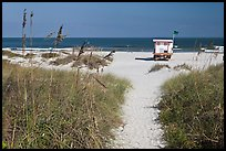 Path, dune grass, and lifeguard platform, Jetty Park. Cape Canaveral, Florida, USA (color)