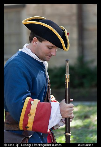 Period dressed Spanish soldier. St Augustine, Florida, USA (color)