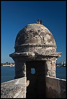 Fortified Turret, pigeons, and Matanzas Bay, Castillo de San Marcos National Monument. St Augustine, Florida, USA ( color)