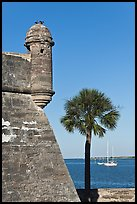 Corner bastion of the Spanish built fort and walls made of coquina masonry units. Castillo de San Marcos National Monument. St Augustine, Florida, USA (color)