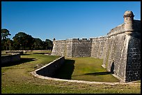 Coquina walls of historic fort, Castillo de San Marcos National Monument. St Augustine, Florida, USA