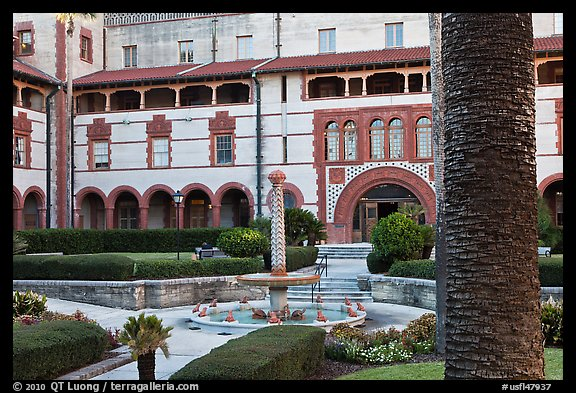 Main courtyard, Flagler College. St Augustine, Florida, USA (color)