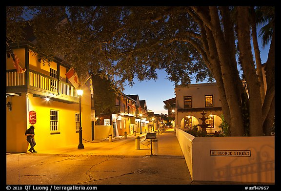 historic Spanish Colonial Quarter by night. St Augustine, Florida, USA (color)