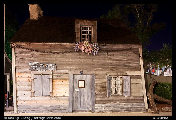 Facade of oldest wooden school house in the US by night. St Augustine, Florida, USA (color)