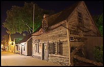 Oldest school house and street by night. St Augustine, Florida, USA ( color)
