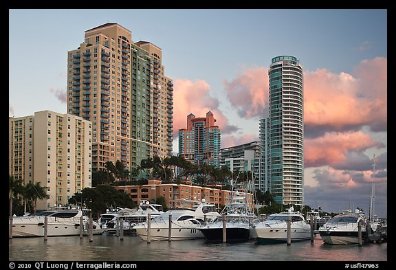 Marina and high rise buildings at sunset, Miami Beach. Florida, USA