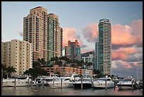 Marina and high rise buildings at sunset, Miami Beach. Florida, USA ( color)