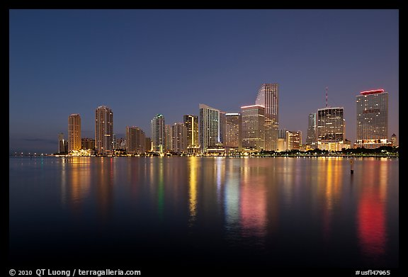 Downtown skyline at night, Miami. Florida, USA (color)
